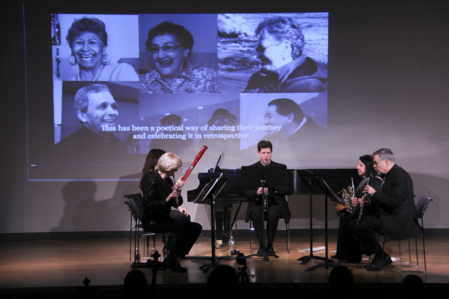 Quintet performing Retrospectives with video of seniors